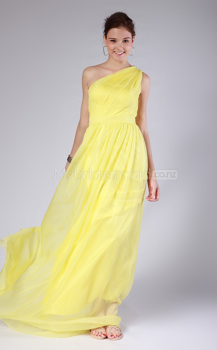 Yellow chiffon a line one shoulder long bridesmaid dresses move your mouse over image or click to enlarge ombrellifo Image collections