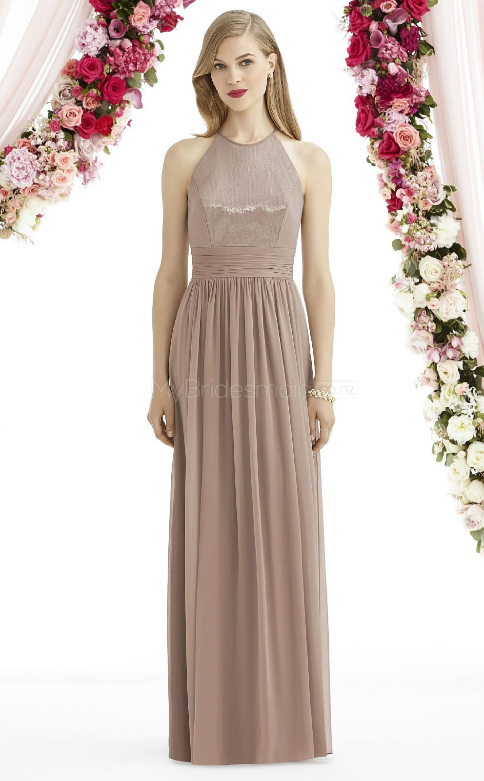 A Line Halter Light Brown Chiffon Long Bridesmaid Dresses With ...