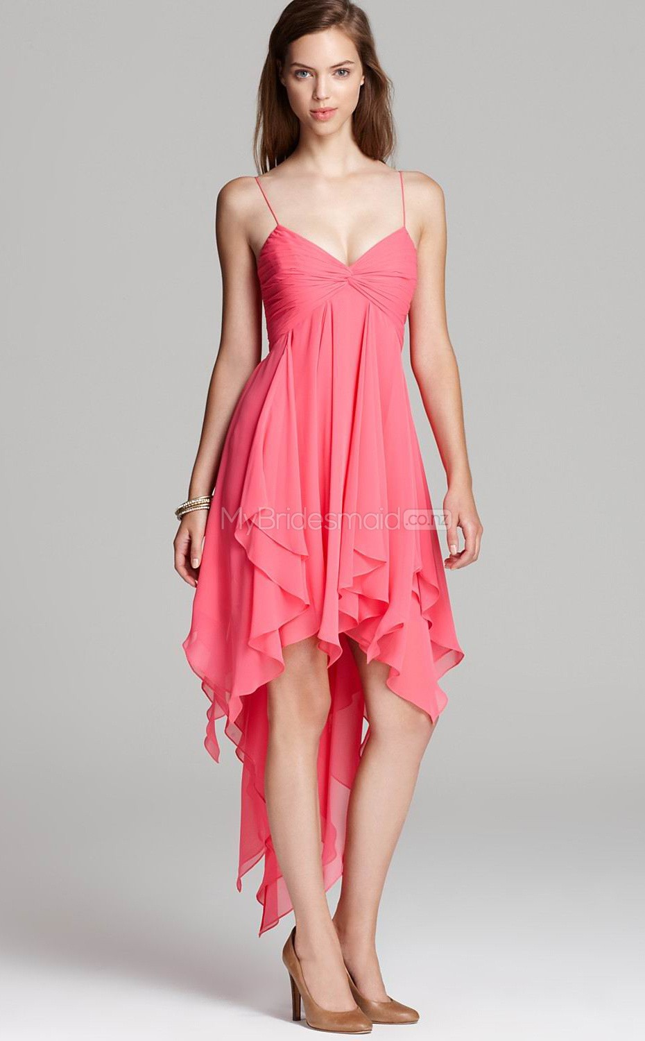 Candy Pink Chiffon A-line Straps Short Bridesmaid Dress For Beach ...