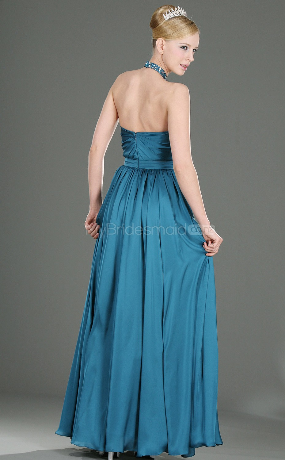Ocean blue chiffon a line halter long bridesmaid dresses for Ocean blue wedding dress