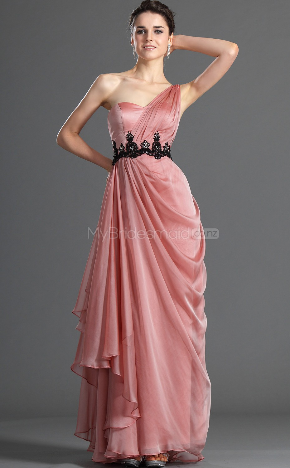 Candy Pink Satin Chiffon A-line One Shoulder Long Bridesmaid Dresses ...