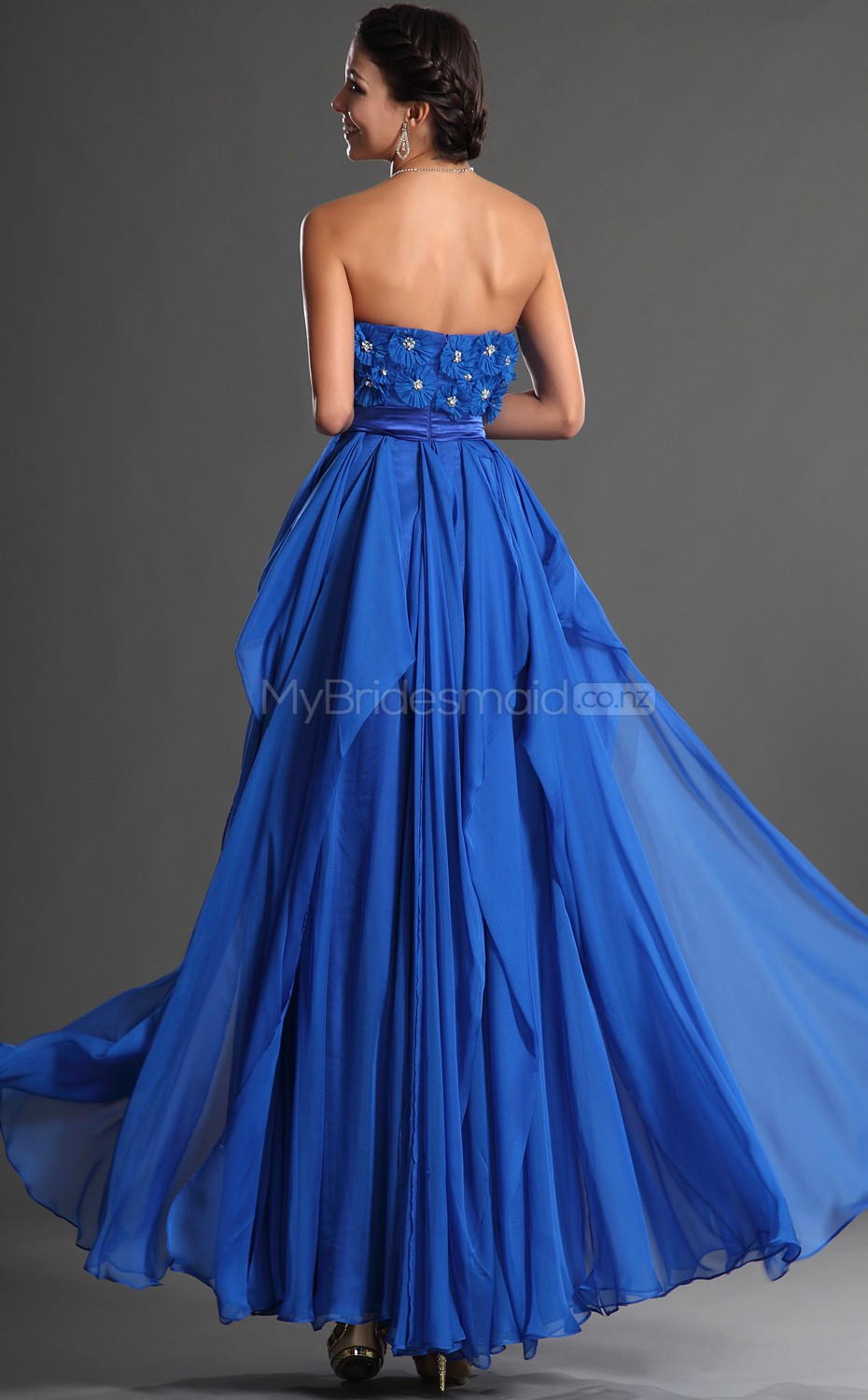 Ocean blue chiffon a line strapless long bridesmaid for Ocean blue wedding dress