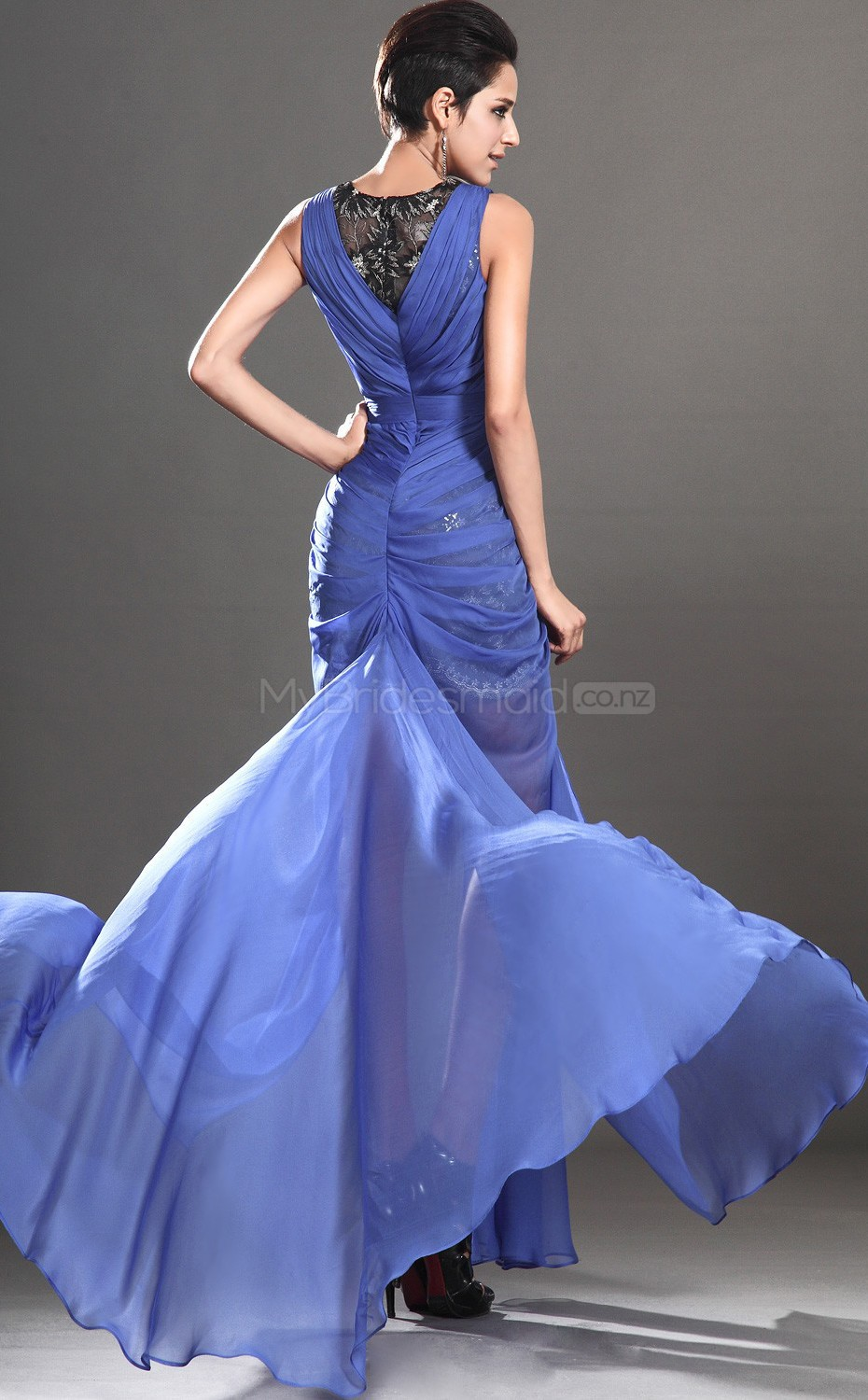 Lace long bridesmaid dresses jewel neck chiffon and lace for Ocean blue wedding dress