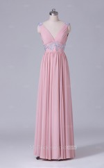 V Neck A Line Long Chiffon Nude Pink Wholesale Clearance Price Bridesmaid Dress BD-NZS470