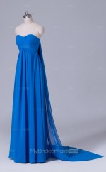 Blue Long Sweetheart Neck Velvet Chiffon A Line Wholesale Clearance Price Bridesmaid Dress BD-NZS477
