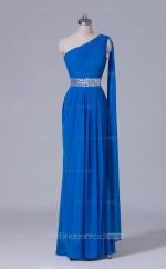 Chiffon A Line Long Blue One Shoulder Wholesale Clearance Price Bridesmaid Dress BD-NZS518