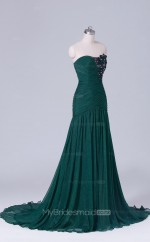 Mermaid Chiffon Sweetheart Neck Dark Green Long Wholesale Clearance Price Bridesmaid Dress BD-NZS522