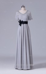 Silver Chiffon A Line V Neck Long Wholesale Clearance Price Bridesmaid Dresses with Short Sleeves BD-NZS538