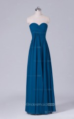 A Line Velvet Chiffon Sweetheart Neck Aegean Long Wholesale Clearance Price Bridesmaid Dress BD-NZS544