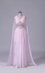 Satin Sheath Long Blushing Pink V Neck Wholesale Clearance Price Bridesmaid Dress BD-NZS547