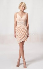 Pearl Pink Chiffon Princess V-neck Short Bridesmaid Dress For Beach(NZBD06055)