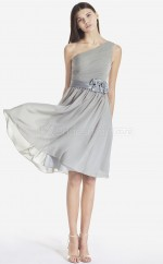 Silver Chiffon A-line One Shoulder Knee-length Bridesmaid Dresses (NZBD06061)