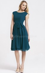 Ink Blue Chiffon A-line Jewel Neckline Knee length Bridesmaid Dress For Beach(NZBD06065)
