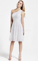 White Chiffon A-line One Shoulder Knee-length Vintage Bridesmaid Dresses (NZBD06066)