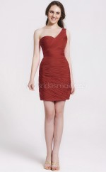 Burgundy Chiffon Sheath One Shoulder Short Bridesmaid Dresses (NZBD06067)