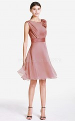 Nude Pink Silk Like Chiffon Princess Jewel Neckline Short Bridesmaid Dress For Beach(NZBD06068)