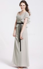 Silver Chiffon Sheath V-neck Long Bridesmaid Dresses (NZBD06075)