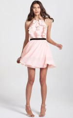 Pink Chiffon Princess Halter Short Bridesmaid Dress For Beach(NZBD06086)