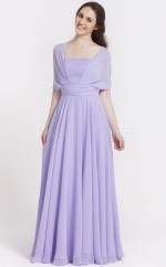 Lilac Chiffon , Stretch Satin Princess Off The Shoulder Floor-length Vintage Bridesmaid Dresses (NZBD06091)