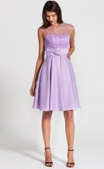 Lilac Satin , Tulle A-line Sweetheart Neckline Short Bridesmaid Dresses (NZBD06099)