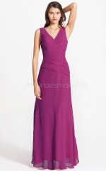 Fuchsia Chiffon Sheath V-neck Long Bridesmaid Dresses (NZBD06101)