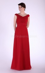 Red Chiffon A-line Off The Shoulder Long Bridesmaid Dresses (NZBD06116)