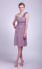 Lilac Chiffon A-line One Shoulder Knee-length Bridesmaid Dresses (NZBD06123)
