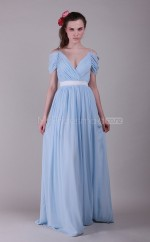 Sky Blue Chiffon A-line Off The Shoulder Long Bridesmaid Dresses (NZBD06129)