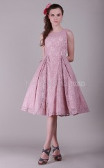 Pink Lace Princess Jewel Neckline Knee length Bridesmaid Dresses (NZBD06130)