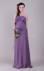 Lilac Chiffon Sheath Strapless Long Bridesmaid Dresses (NZBD06132)