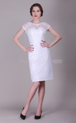 White Lace Sheath Jewel Neckline Short Vintage Bridesmaid Dresses (NZBD06141)