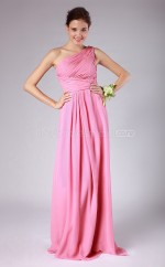 Candy Pink Chiffon A-line One Shoulder Long Bridesmaid Dresses (NZBD06143)