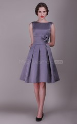 Satin Princess Bateau Neckline Knee Length Vintage Bridesmaid Dresses (NZBD06144)