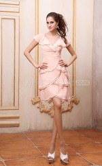 Pink Satin Chiffon Sheath V-neck Short Bridesmaid Dresses (NZBD06152)