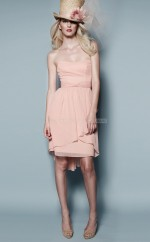 Pink Chiffon A-line Strapless Short Bridesmaid Dress For Beach(NZBD06156)