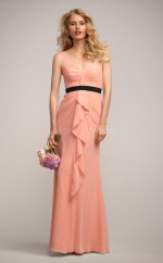 Candy Pink Chiffon Sheath V-neck Long Bridesmaid Dresses (NZBD06157)
