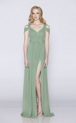 Modern Off The Shoulder A Line Long LightGreen Chiffon Bridesmadi Dress with Split Front BDNZ1587