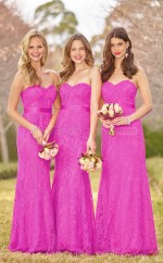 Chic Fuchsia Sweetheart Long Mermaid Lace Bridesmadi Dress with Ribbon BDNZ1589