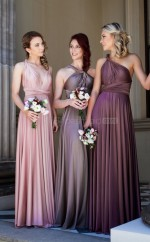 Trendy Long Charmeuse Straps Gray A Line Bridesmadi Dress with Draping BDNZ1594