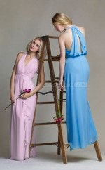 Chic Chiffon V-neck Long Sheath Lilac Bridesmaid Dress with Cascading Ruffles BDNZ1600
