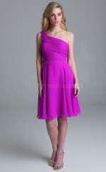 Adult Knee Length Purple One Shoulder Chiffon Bridesmadi Dress with Sequins BDNZ1606