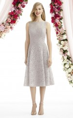 Glamorous LightGray Tea Length Bateau Lace A Line Bridesmadi Dress with Lace , Draping BDNZ1613
