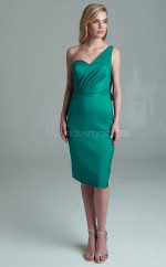 Formal Knee Length Green One Shoulder Stretch Satin Bridesmadi Dress with Pleats BDNZ1615