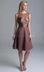 Adult Chiffon Brown A Line Knee Length Bridesmaid Dress with Pleats , Draping BDNZ1617