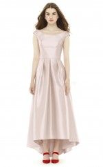 Teenage Stretch Satin Scoop Hi-Lo Pink A Line Bridesmadi Dress with Draping BDNZ1619