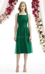 Adult Leather Square Tea Length Green A Line Bridesmaid Dress BDNZ1628