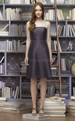 Classic Black Strapless Short A Line Chiffon Bridesmaid Dress BDNZ1634