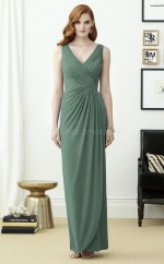Trendy LightGreen Sheath V-neck Ankle Length Chiffon Bridesmaid Dress BDNZ1638