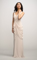 Ivory Silk Like Chiffon Sheath V-neck Floor-length Vintage Bridesmaid Dresses (NZBD06164)