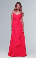Elegant Red Straps Long A Line Chiffon Bridesmaid Dress BDNZ1643